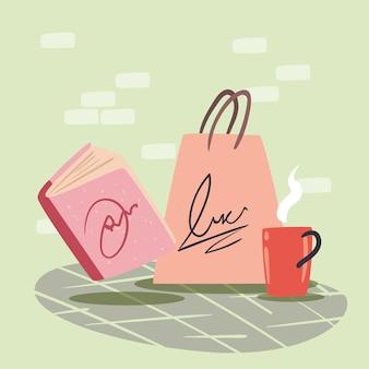 ショッピングバッグと本