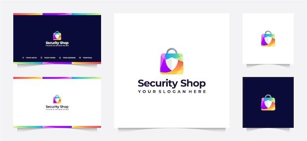 ショッピングバッグと盾のグラデーションのロゴ、名刺付き。