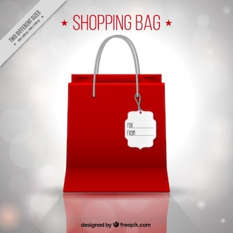 Shopping bag background with bokeh effect