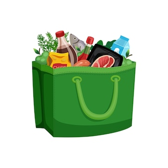 Shopping bag basket composition with isolated image of food in fabric bag
