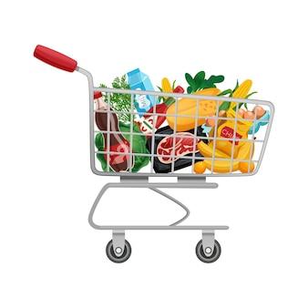 슈퍼마켓 트롤리 카트에 제품의 고립 된 이미지와 쇼핑백 바구니 구성