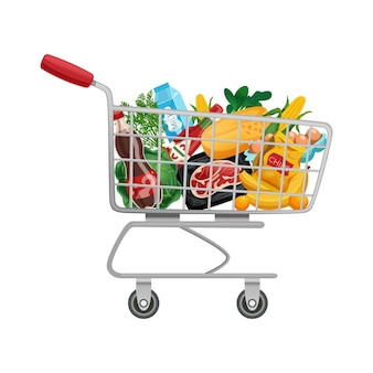 Shopping bag basket composition with isolated image of products in supermarket trolley cart