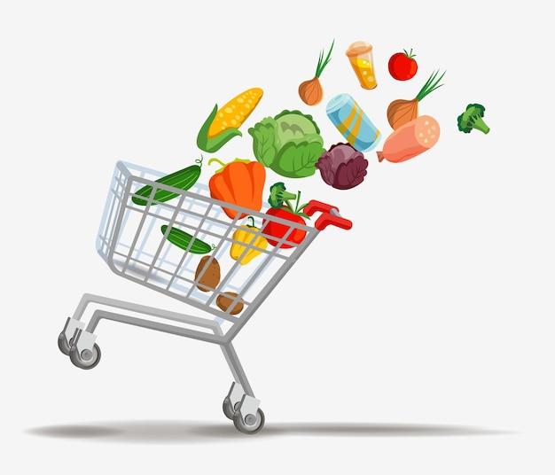Корзина для покупок с нулевым составом отходов с летающими продуктами в воздушной тележке векторные иллюстрации.