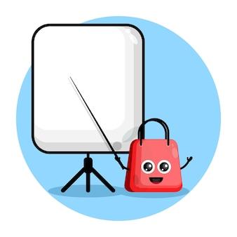 Shopping bag becomes a teacher cute character logo