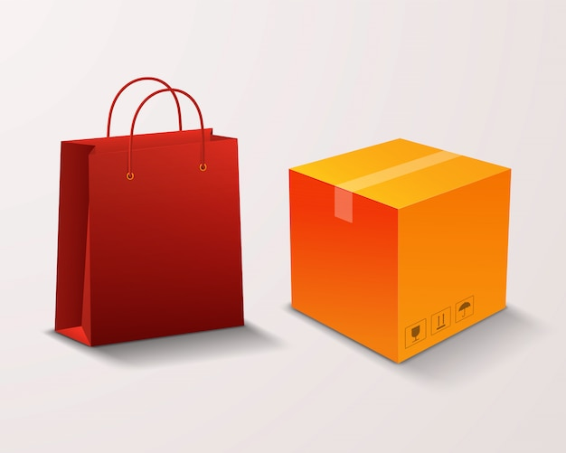 Shopping bag and box for goods isolated on a light