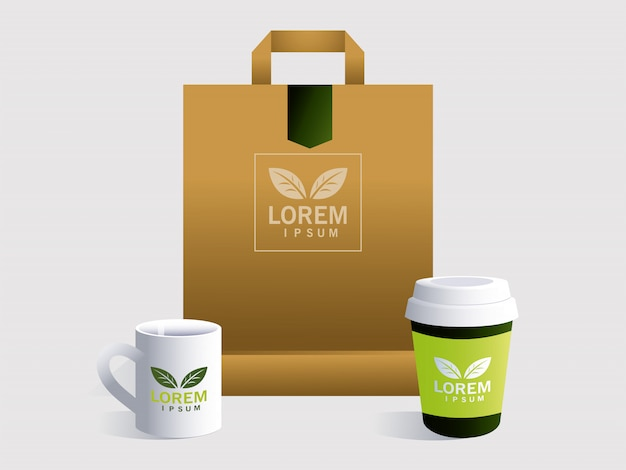 Shopping bag, corporate identity template on white