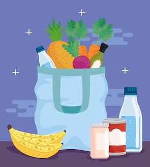 Shopping bag and food