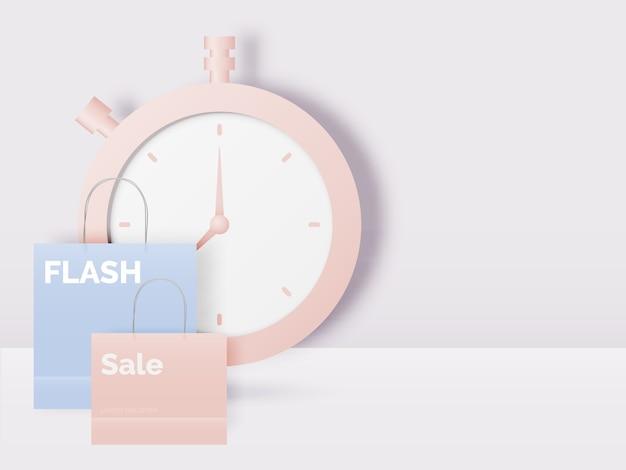 ペーパーアートスタイルとパステル調のイラストの販売バナーのショッピングバッグ