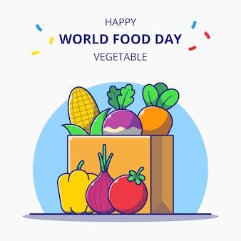 新鮮な野菜の漫画イラスト世界食料デーのお祝いがいっぱいのショッピングバッグ。