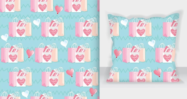 Shopping bag and gift box pattern for valentine's day card design.