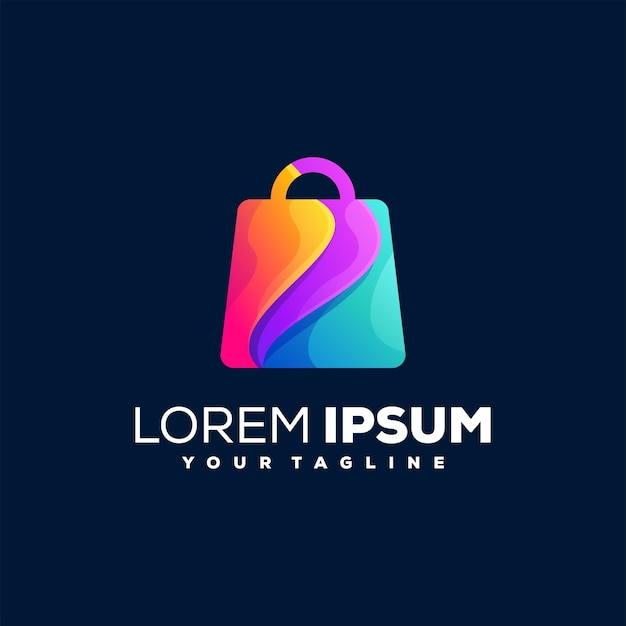 Shopping bag gradient logo design