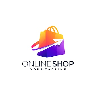 ショッピングバッグのグラデーションのロゴデザイン