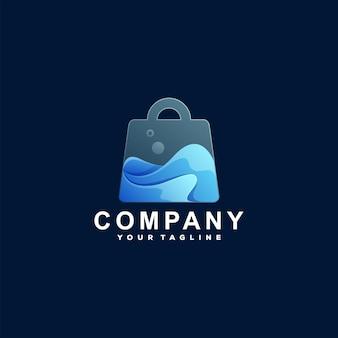 ショッピングバッグのグラデーションロゴデザイン