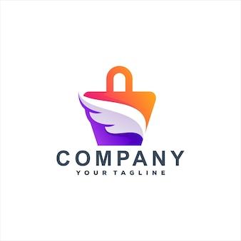 Шаблон логотипа градиентная сумка для покупок