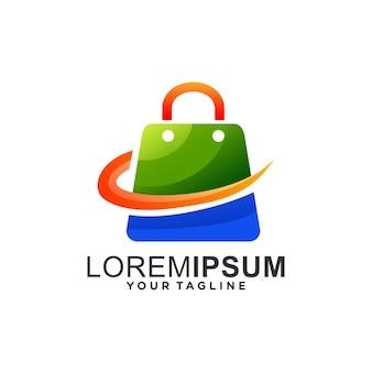 ショッピングバッグのグラデーションロゴ