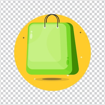 空白の背景にショッピングバッグのアイコン