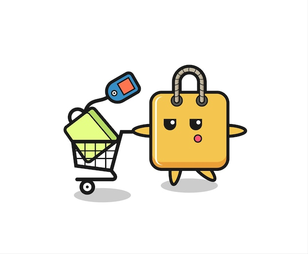 Shopping bag illustration cartoon with a shopping cart , cute style design for t shirt, sticker, logo element