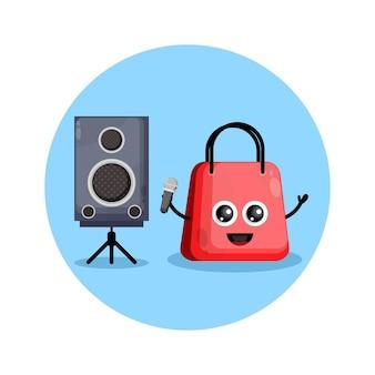 Сумка для покупок караоке милый персонаж логотип