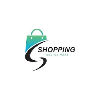 Shopping bag logo designs online shop logo template