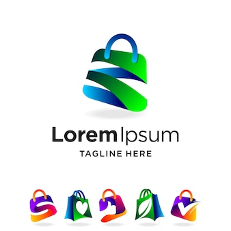 Shopping bag logo with multiple concept