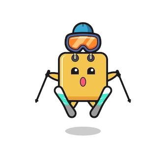 Shopping bag mascot character as a ski player , cute style design for t shirt, sticker, logo element