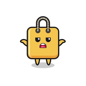 Shopping bag mascot character saying i do not know , cute style design for t shirt, sticker, logo element