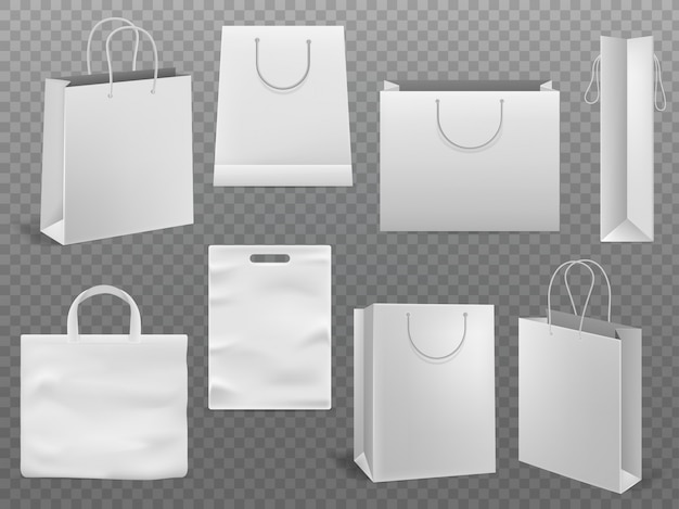 Shopping bag mockups. empty handbag white paper fashion bag with handle 3d isolated template