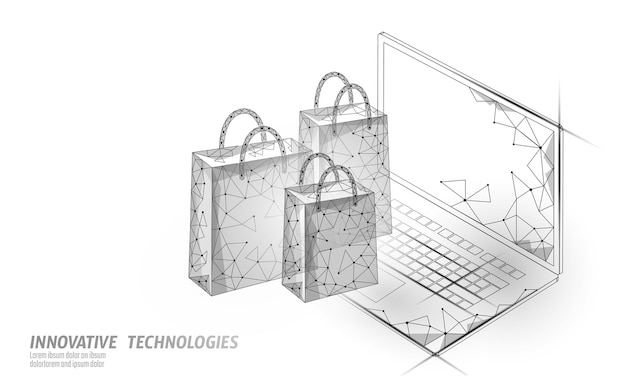 Shopping bag  . online shop smartphone trade market technology.