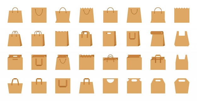 Shopping bag, paper craft eco package, shop accessory flat cartoon icon set.