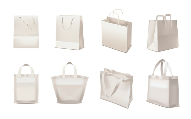 Shopping bag realistic set