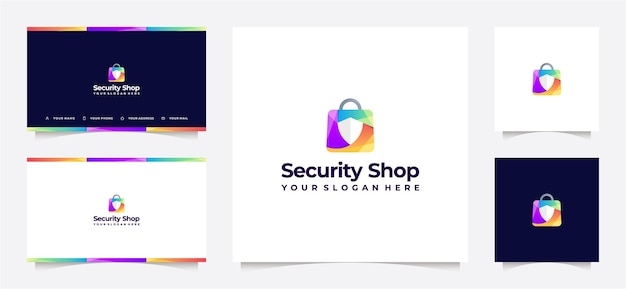 Shopping bag and shield gradient logo, with business card.