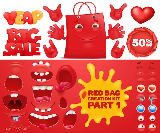 Shopping bag stars cartoon mascot characters.