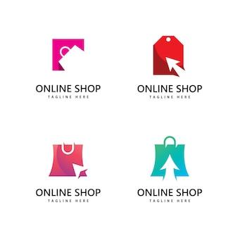 ショッピングバッグストアのロゴ。オンラインショッピングのロゴデザイン
