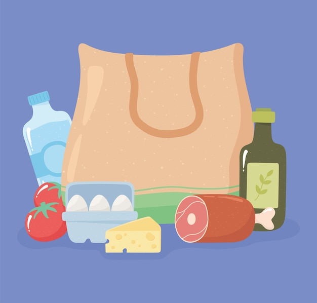 Текстильная сумка для покупок с окорочком, оливковым маслом, яйцами, сыром, продуктовыми покупками