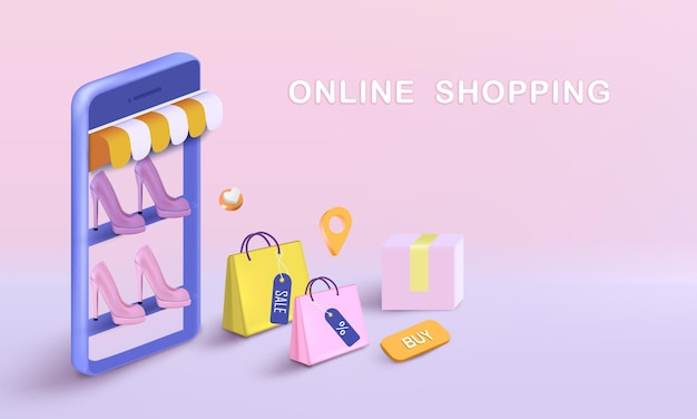 Shopping bag with box and shoes for online shopping