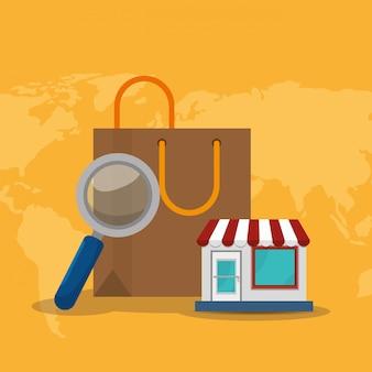 Shopping bag con icone di commercio elettronico