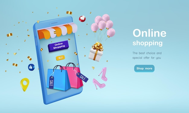 Shopping bag with gift  and confetti for online shopping