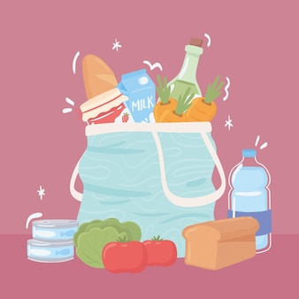 식료품이 든 쇼핑백