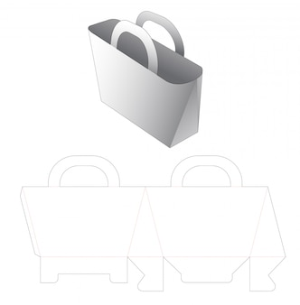 Shopping bag with holder die cut template