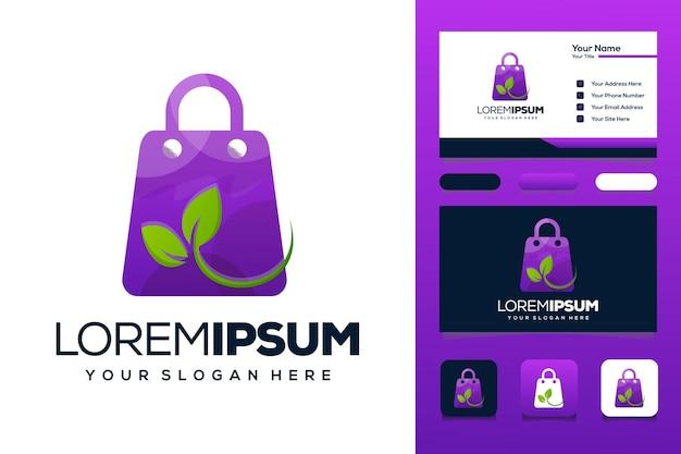 葉のロゴデザインのショッピングバッグ