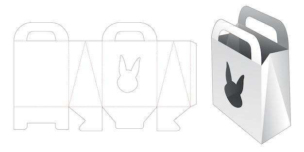 토끼 모양의 창 다이 컷 템플릿 쇼핑백
