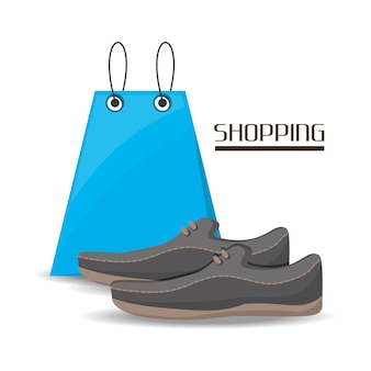 Shopping bag with shoes over white background