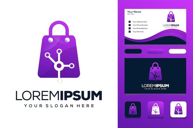 ハイテクロゴデザインのショッピングバッグ