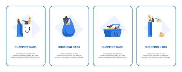 ショッピングバッグとバスケットのイラストセット Premiumベクター