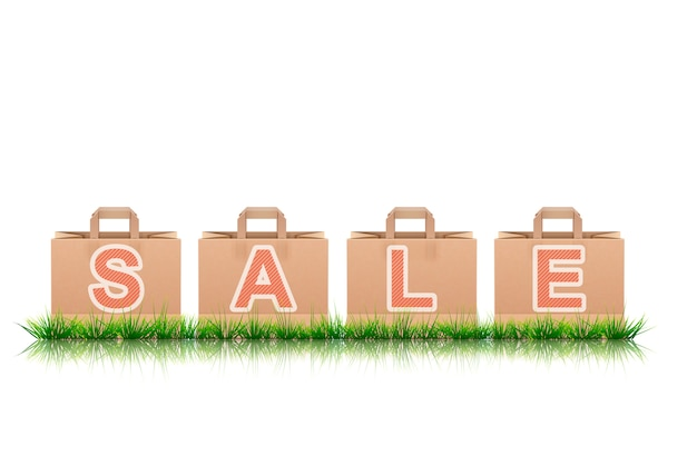 Shopping bags banner with sale letters