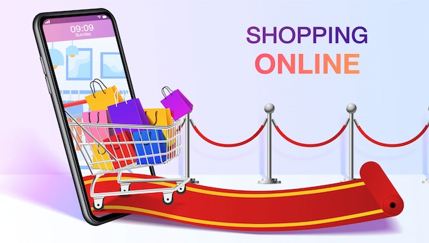트롤리 아웃 모바일 또는 스마트 폰에 쇼핑백. 쇼핑 온라인 웹 사이트 템플릿. 모바일 스토어 응용 프로그램 개념. 마케팅 및 디지털 마케팅. .