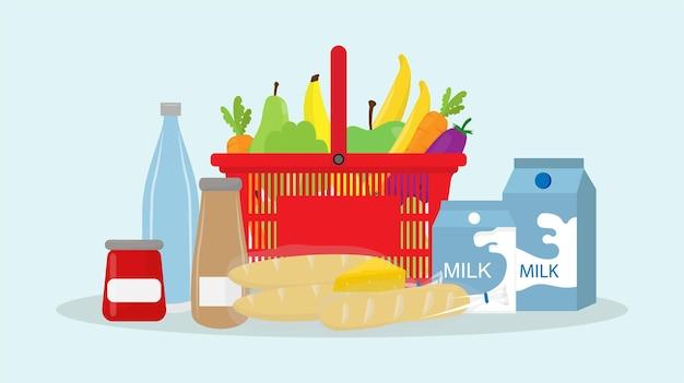 식품 슈퍼마켓 식료품이 있는 쇼핑 바구니 카트