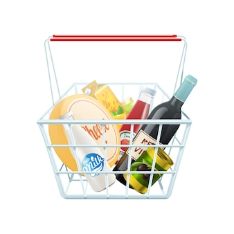 Shopping basket concept with wine cheese and ketchup realistic vector illustration