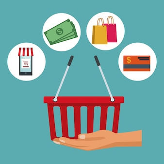 Shopping basket and elements icons online shopping