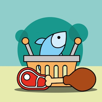Shopping basket fish chicken and meat